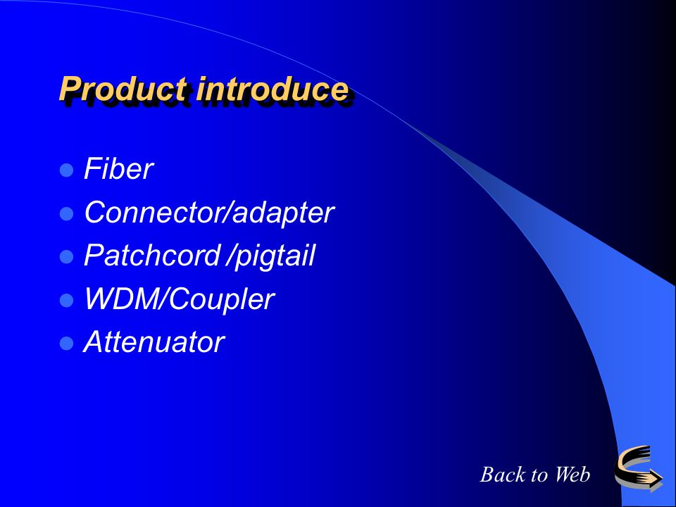 Product introduce Fiber Connector/adapter Patchcord /pigtail WDM/Coupler Attenuator Back to Web