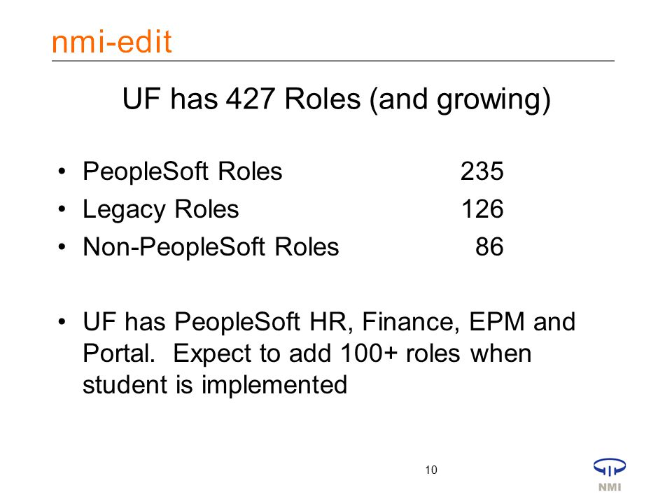 10 UF has 427 Roles (and growing) PeopleSoft Roles235 Legacy Roles126 Non-PeopleSoft Roles 86 UF has PeopleSoft HR, Finance, EPM and Portal.