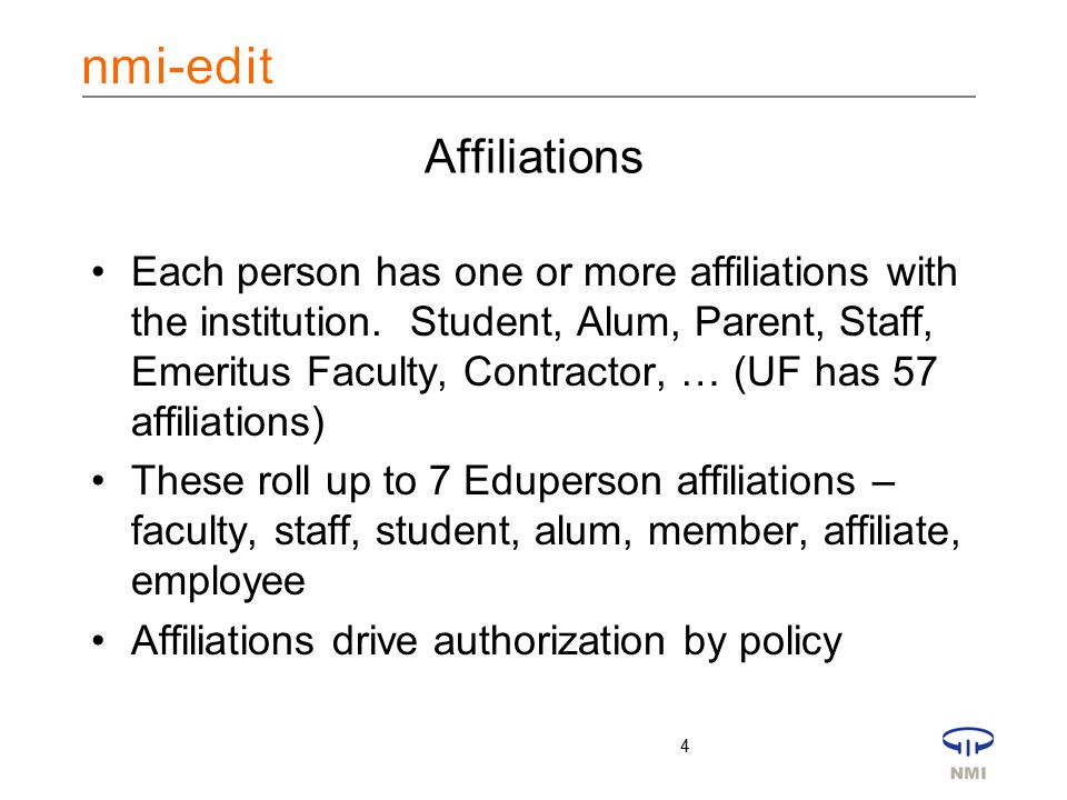4 Affiliations Each person has one or more affiliations with the institution.