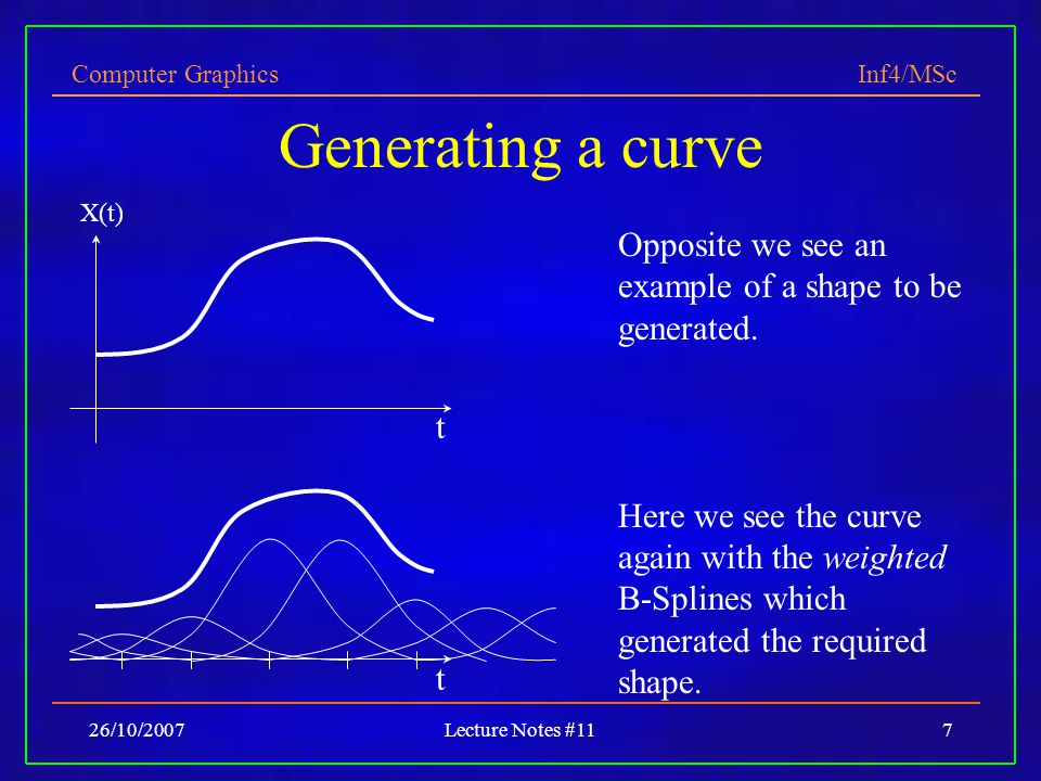 Computer Graphics Inf4/MSc 26/10/2007Lecture Notes #117 Generating a curve X(t) t t Opposite we see an example of a shape to be generated. Here we see