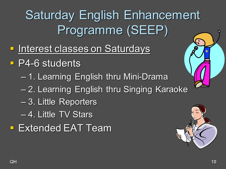 QH10 Saturday English Enhancement Programme (SEEP)  Interest classes on Saturdays  P4-6 students –1. Learning English thru Mini-Drama –2. Learning E