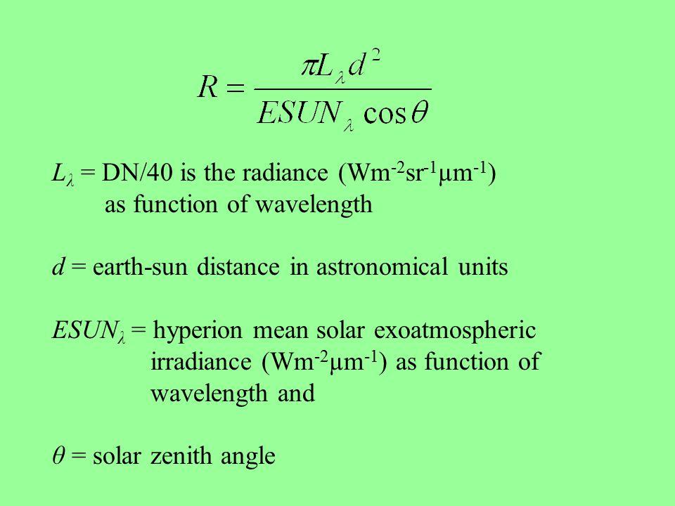 L λ = DN/40 is the radiance (Wm -2 sr -1 µm -1 ) as function of wavelength d = earth-sun distance in astronomical units ESUN λ = hyperion mean solar exoatmospheric irradiance (Wm -2 µm -1 ) as function of wavelength and θ = solar zenith angle