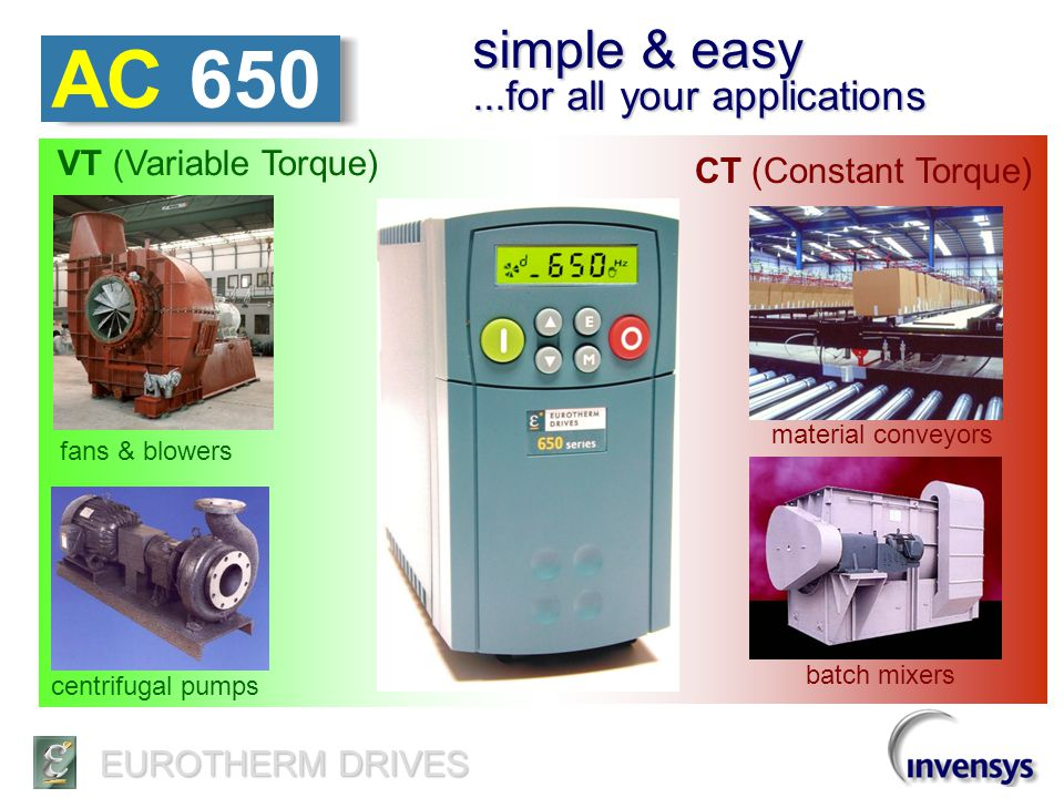 EUROTHERM DRIVES AC 650 simple operator controls STOP START Backlit LCD display Rotation raise / lower speed Speed, Hz, or units local /remote program menu Locally mounted & removable or Remote-mount option
