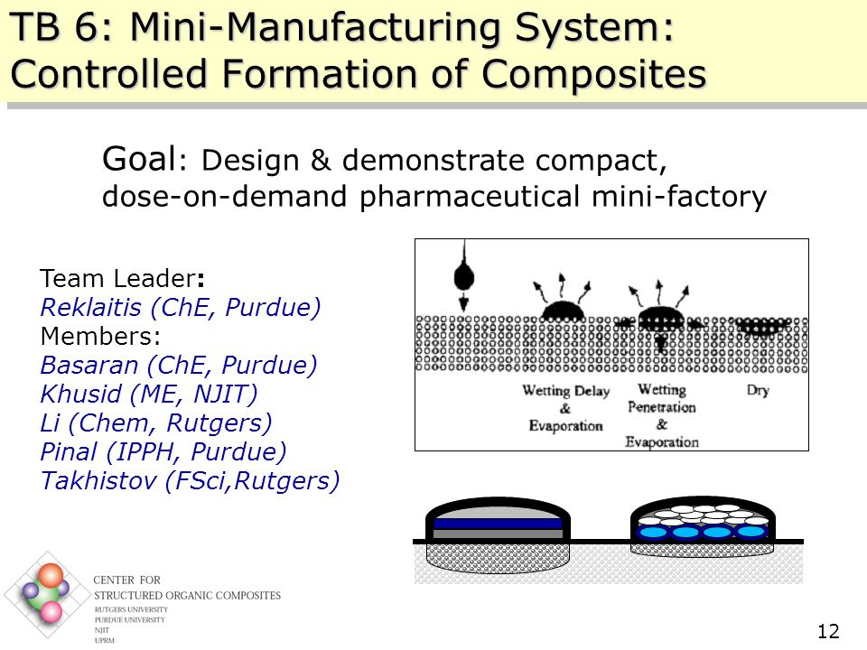 Center for Structured Organic Composites (C-SOC) Rutgers – NJIT – Purdue – UPRM 10/11/2005 12 TB 6: Mini-Manufacturing System: Controlled Formation of Composites Goal : Design & demonstrate compact, dose-on-demand pharmaceutical mini-factory Team Leader: Reklaitis (ChE, Purdue) Members: Basaran (ChE, Purdue) Khusid (ME, NJIT) Li (Chem, Rutgers) Pinal (IPPH, Purdue) Takhistov (FSci,Rutgers)