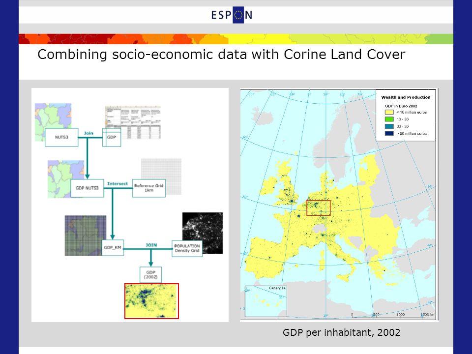Combining socio-economic data with Corine Land Cover GDP per inhabitant, 2002