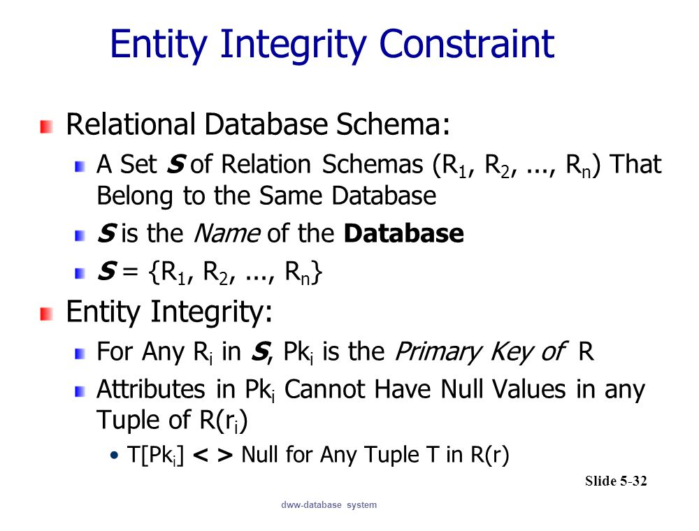 dww-database system Relational Database Schema: A Set S of Relation Schemas (R 1, R 2,..., R n ) That Belong to the Same Database S is the Name of the Database S = {R 1, R 2,..., R n } Entity Integrity: For Any R i in S, Pk i is the Primary Key of R Attributes in Pk i Cannot Have Null Values in any Tuple of R(r i ) T[Pk i ] Null for Any Tuple T in R(r) Entity Integrity Constraint Slide 5-32