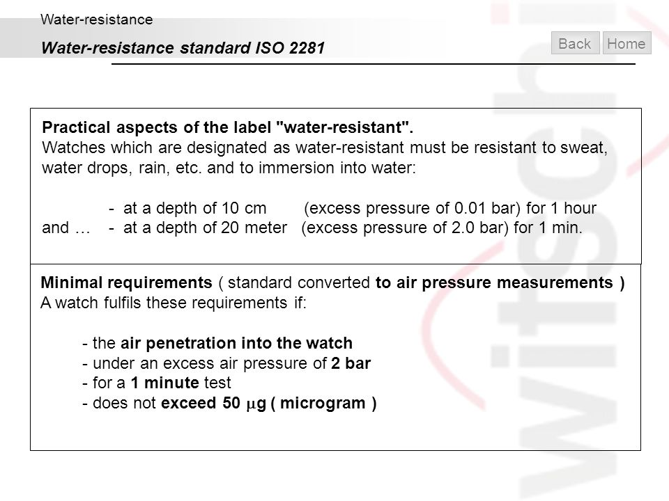 Water-resistance Water-resistance standard ISO 2281 Practical aspects of the label