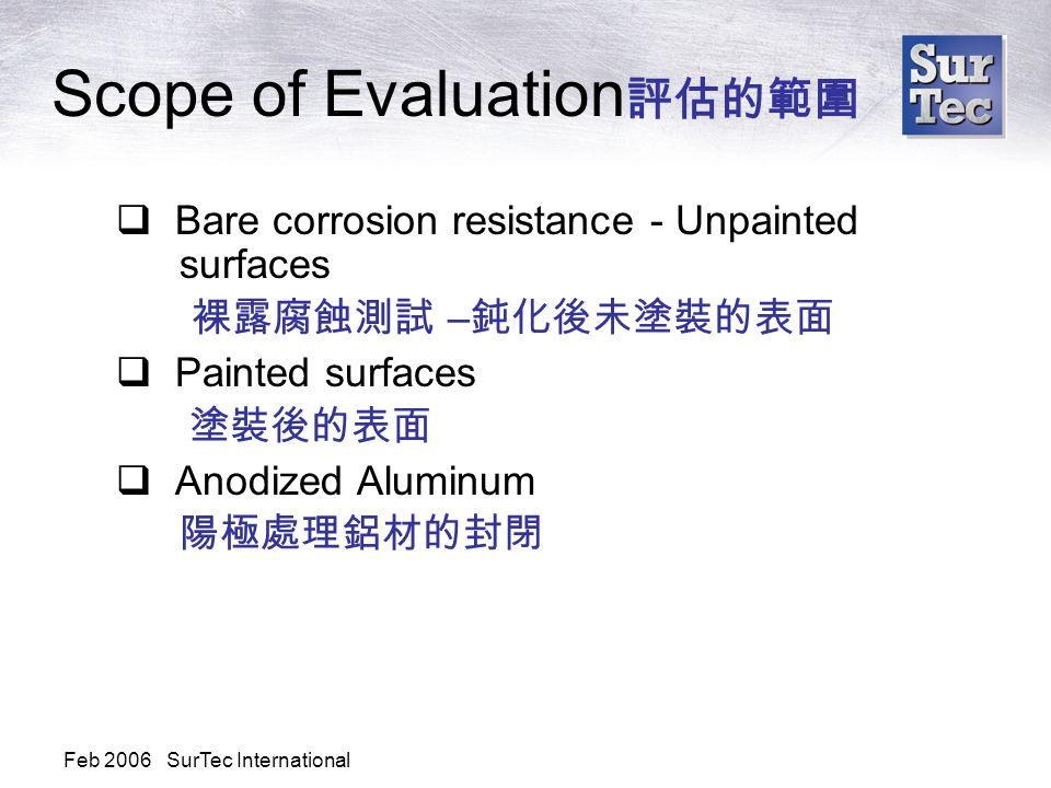 Feb 2006 SurTec International Scope of Evaluation 評估的範圍  Bare corrosion resistance - Unpainted surfaces 裸露腐蝕測試 – 鈍化後未塗裝的表面  Painted surfaces 塗裝後的表面  Anodized Aluminum 陽極處理鋁材的封閉