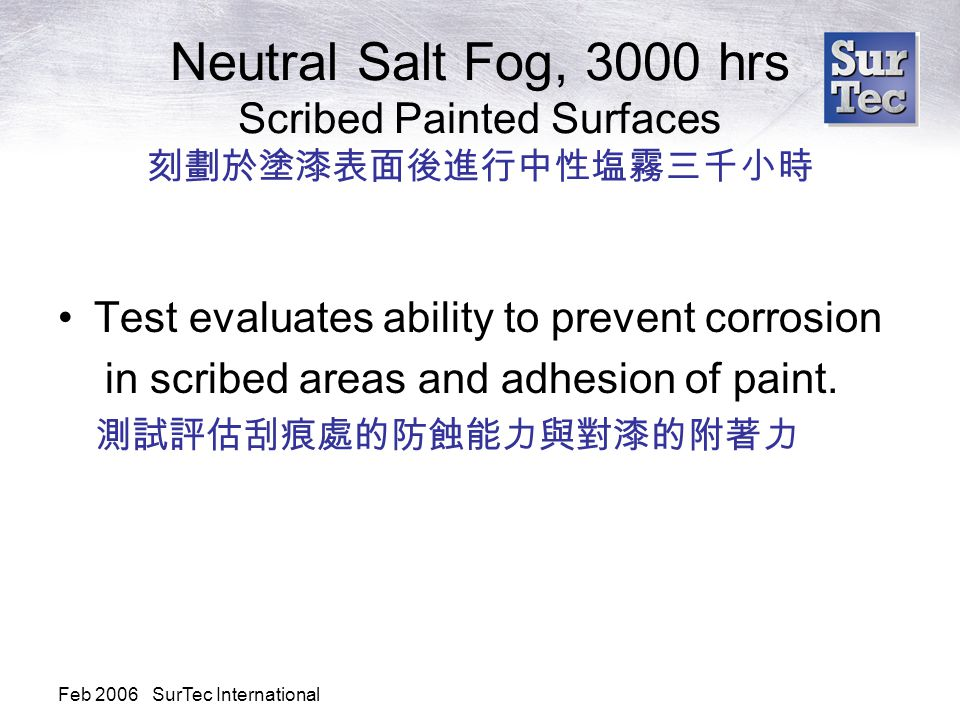 Feb 2006 SurTec International Neutral Salt Fog, 3000 hrs Scribed Painted Surfaces 刻劃於塗漆表面後進行中性塩霧三千小時 Test evaluates ability to prevent corrosion in scribed areas and adhesion of paint.