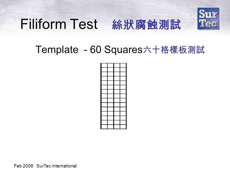 Feb 2006 SurTec International Filiform Test 絲狀腐蝕測試 Template - 60 Squares 六十格樣板測試