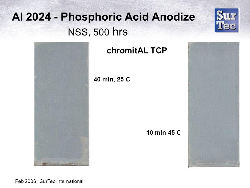Al 2024 - Phosphoric Acid Anodize NSS, 500 hrs chromitAL TCP 40 min, 25 C 10 min 45 C