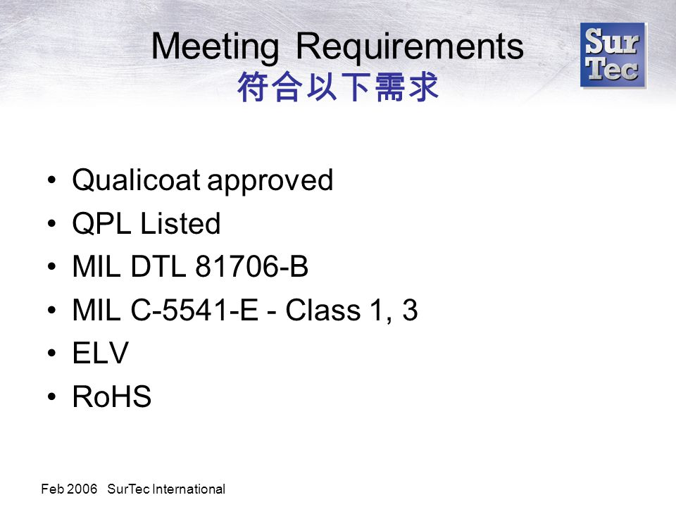 Feb 2006 SurTec International Meeting Requirements 符合以下需求 Qualicoat approved QPL Listed MIL DTL 81706-B MIL C-5541-E - Class 1, 3 ELV RoHS