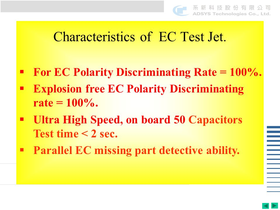 Characteristics of EC Test Jet.  For EC Polarity Discriminating Rate = 100%.  Explosion free EC Polarity Discriminating rate = 100%.  Ultra High Sp