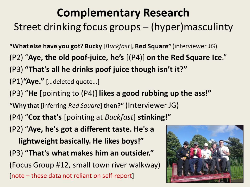Complementary Research Street drinking focus groups – (hyper)masculinty What else have you got.