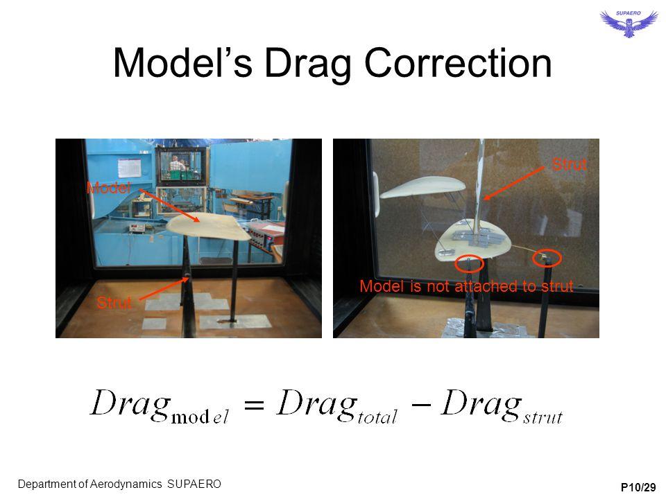 Model's Drag Correction Model Strut Model is not attached to strut Department of Aerodynamics SUPAERO P10/29