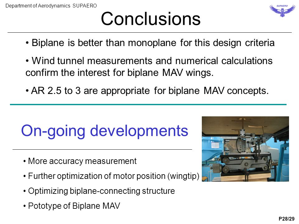 Conclusions Biplane is better than monoplane for this design criteria Wind tunnel measurements and numerical calculations confirm the interest for bip
