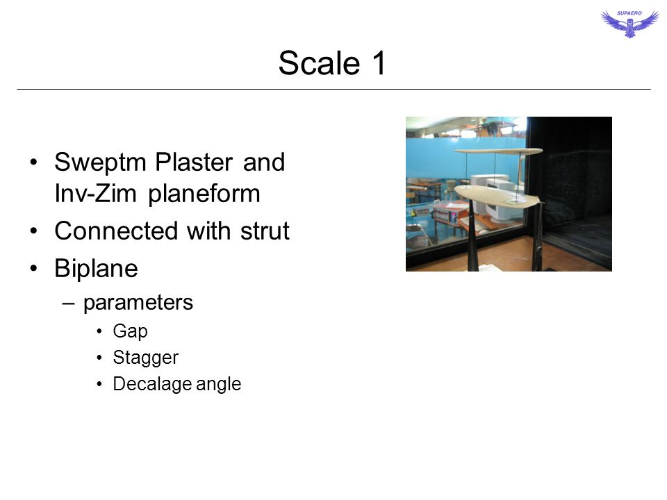 Scale 1 Sweptm Plaster and Inv-Zim planeform Connected with strut Biplane –parameters Gap Stagger Decalage angle