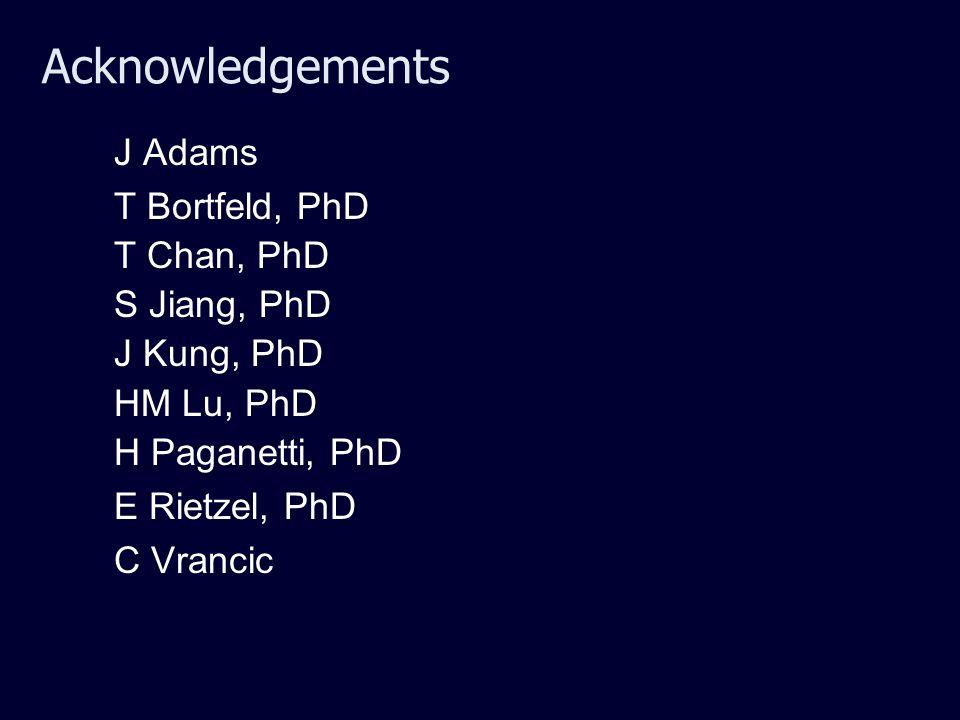 Acknowledgements J Adams T Bortfeld, PhD T Chan, PhD S Jiang, PhD J Kung, PhD HM Lu, PhD H Paganetti, PhD E Rietzel, PhD C Vrancic