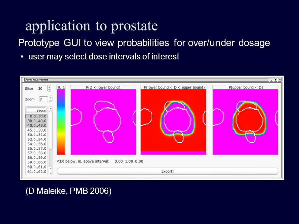 application to prostate Prototype GUI to view probabilities for over/under dosage (D Maleike, PMB 2006) user may select dose intervals of interest