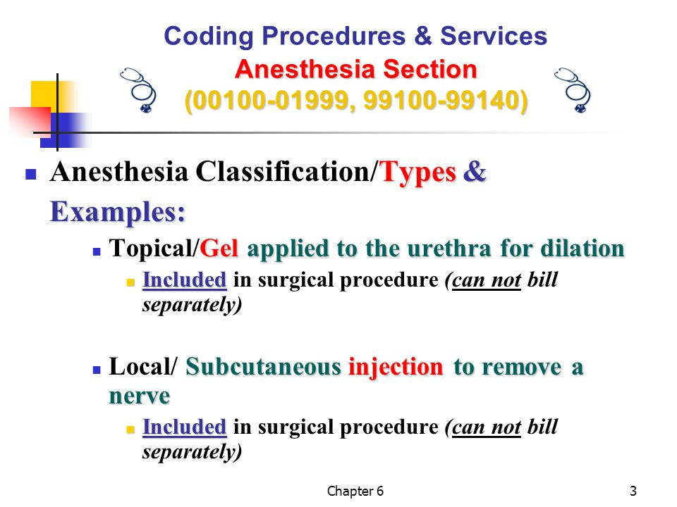 Chapter 624 Anesthesia Section (00100-01999, 99100-99140) Coding Procedures & Services Anesthesia Section (00100-01999, 99100-99140)