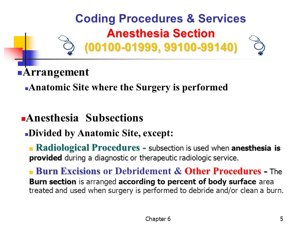 Chapter 636 Anesthesia Section (00100-01999, 99100-99140) PERFORMANCE EXERCISE Coding Procedures & Services Anesthesia Section (00100-01999, 99100-99140) PERFORMANCE EXERCISE Anesthesia for open procedures involving upper 2/3 of femur, not otherwise specified 01230 Anesthesia for procedures on facial bones or skull; not otherwise specified 00190 Breast Reconstrution, normal healthy patient 00402 & Modifier P1