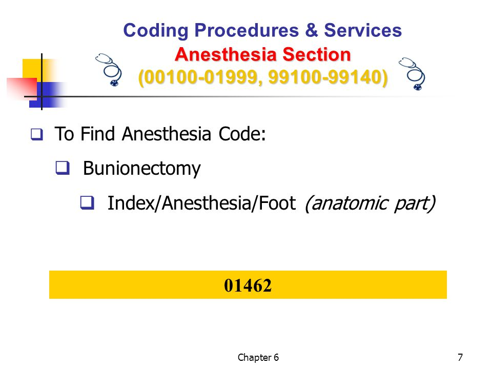 Chapter 628 Anesthesia Coding Steps Step 1: Identify anesthesia procedure/service Step 2: Assign physical status modifier Step 3: Assign qualifying circumstance, if applicable Step 4: Assign modifier codes, if applicable Step 5: Calculate anesthesia time