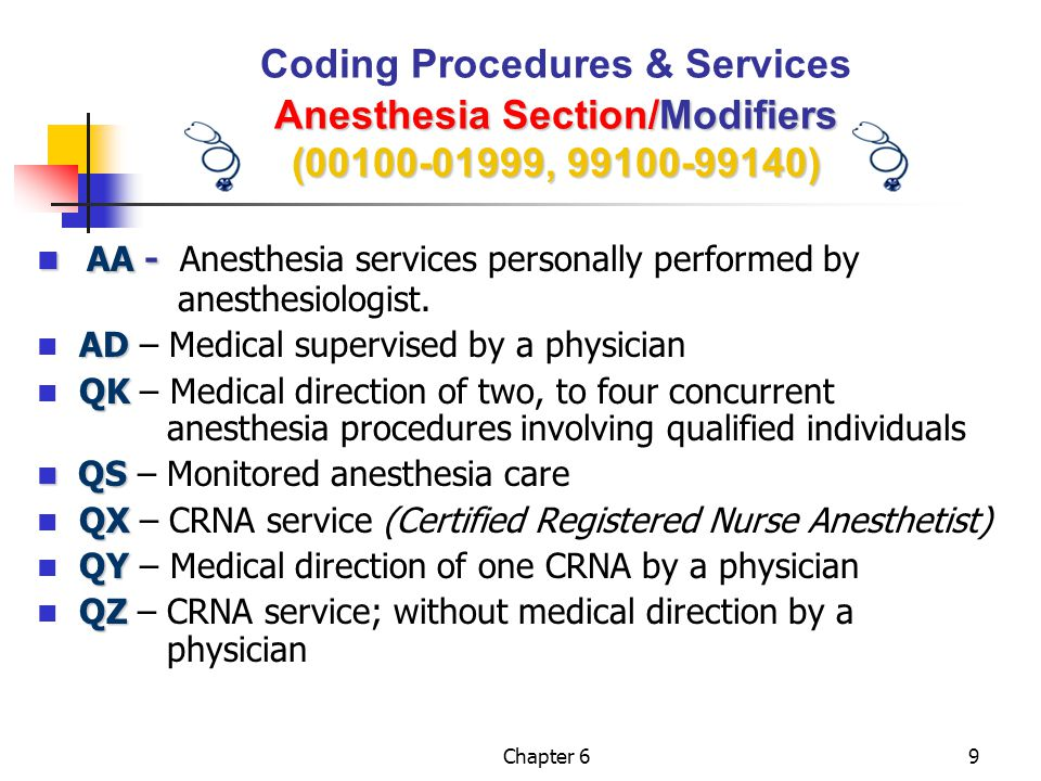 Chapter 620 Anesthesia Section Calculating Anesthesia Time (00100-01999, 99100-99140) Coding Procedures & Services Anesthesia Section/ Calculating Anesthesia Time (00100-01999, 99100-99140)  All anesthesia values are determined by taking the BASIC UNIT VALUE, which is related to the complexity of the service, and adding MODIFYING UNITS (if any), and TIME UNITS.