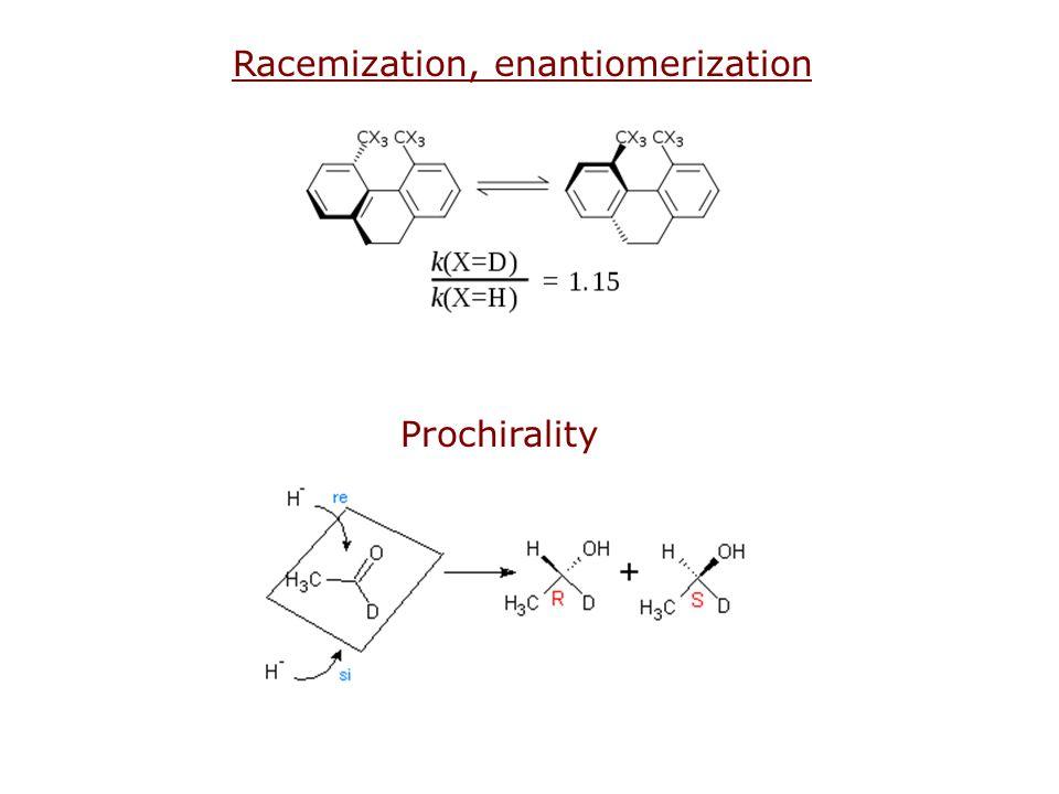 Racemization, enantiomerization Prochirality