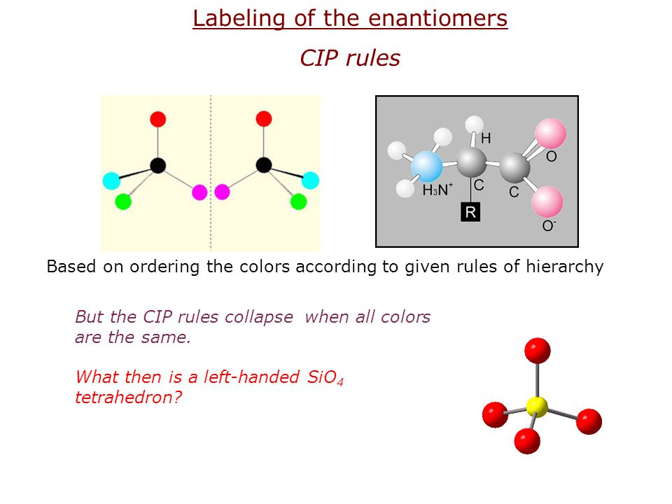 Labeling of the enantiomers CIP rules Based on ordering the colors according to given rules of hierarchy But the CIP rules collapse when all colors ar