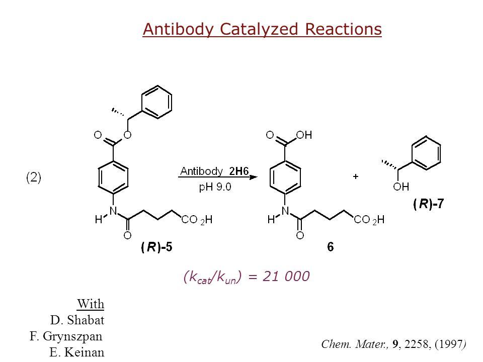 (k cat /k un ) = 21 000 Chem. Mater., 9, 2258, (1997) Antibody Catalyzed Reactions With D. Shabat F. Grynszpan E. Keinan