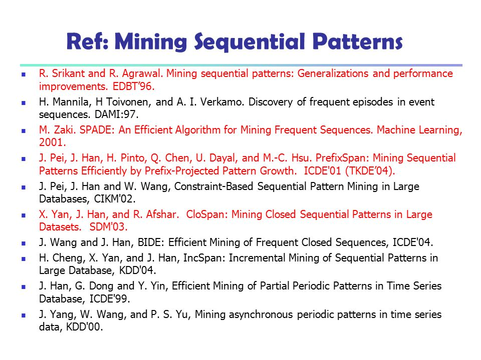 Ref: Mining Sequential Patterns R. Srikant and R. Agrawal. Mining sequential patterns: Generalizations and performance improvements. EDBT'96. H. Manni