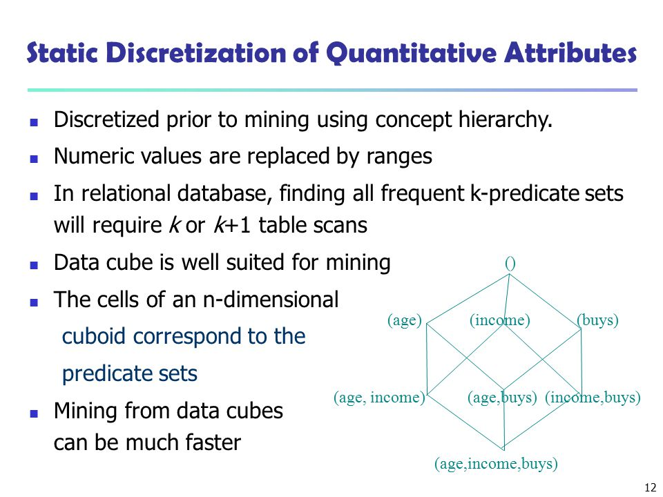 12 Static Discretization of Quantitative Attributes Discretized prior to mining using concept hierarchy. Numeric values are replaced by ranges In rela