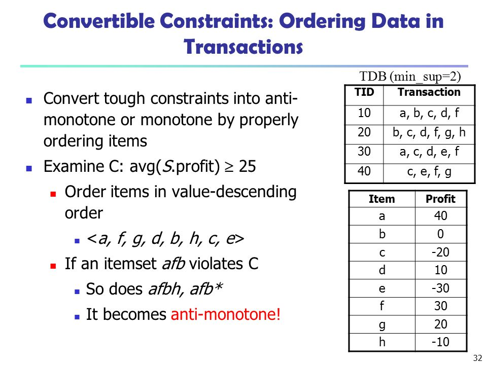 32 Convertible Constraints: Ordering Data in Transactions Convert tough constraints into anti- monotone or monotone by properly ordering items Examine