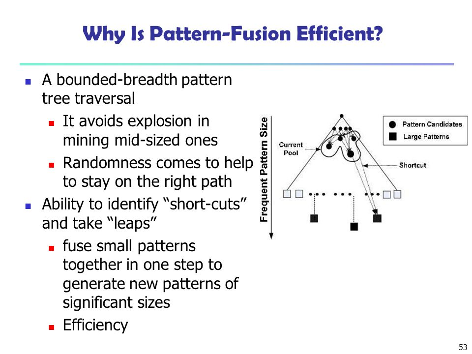 53 Why Is Pattern-Fusion Efficient? A bounded-breadth pattern tree traversal It avoids explosion in mining mid-sized ones Randomness comes to help to