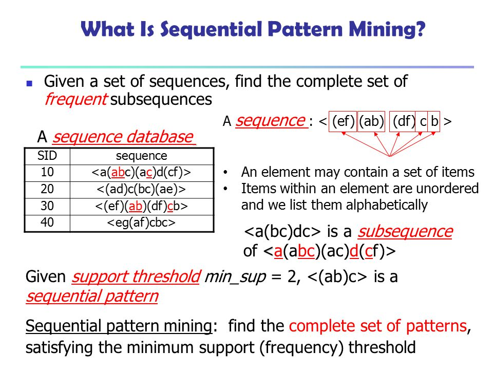What Is Sequential Pattern Mining? Given a set of sequences, find the complete set of frequent subsequences A sequence database A sequence : An elemen