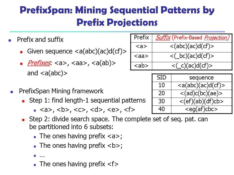 PrefixSpan: Mining Sequential Patterns by Prefix Projections PrefixSpan Mining framework Step 1: find length-1 sequential patterns,,,,, Step 2: divide