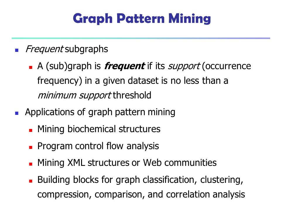 Graph Pattern Mining Frequent subgraphs A (sub)graph is frequent if its support (occurrence frequency) in a given dataset is no less than a minimum su