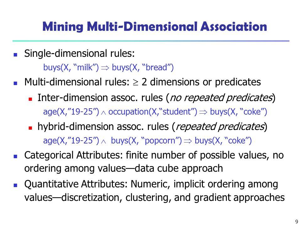"9 Mining Multi-Dimensional Association Single-dimensional rules: buys(X, ""milk"")  buys(X, ""bread"") Multi-dimensional rules:  2 dimensions or predica"
