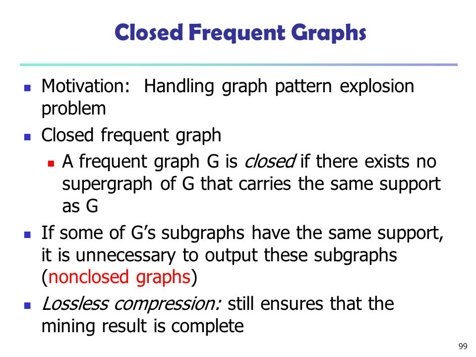 99 Closed Frequent Graphs Motivation: Handling graph pattern explosion problem Closed frequent graph A frequent graph G is closed if there exists no s