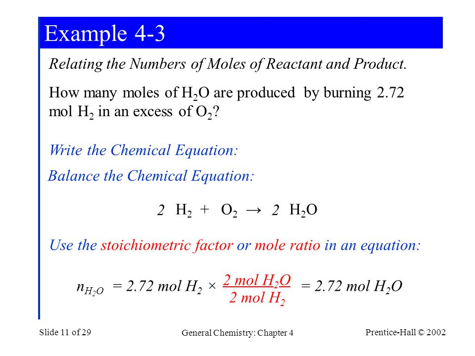 Prentice-Hall © 2002 General Chemistry: Chapter 4 Slide 11 of 29 Example 4-3 Relating the Numbers of Moles of Reactant and Product.