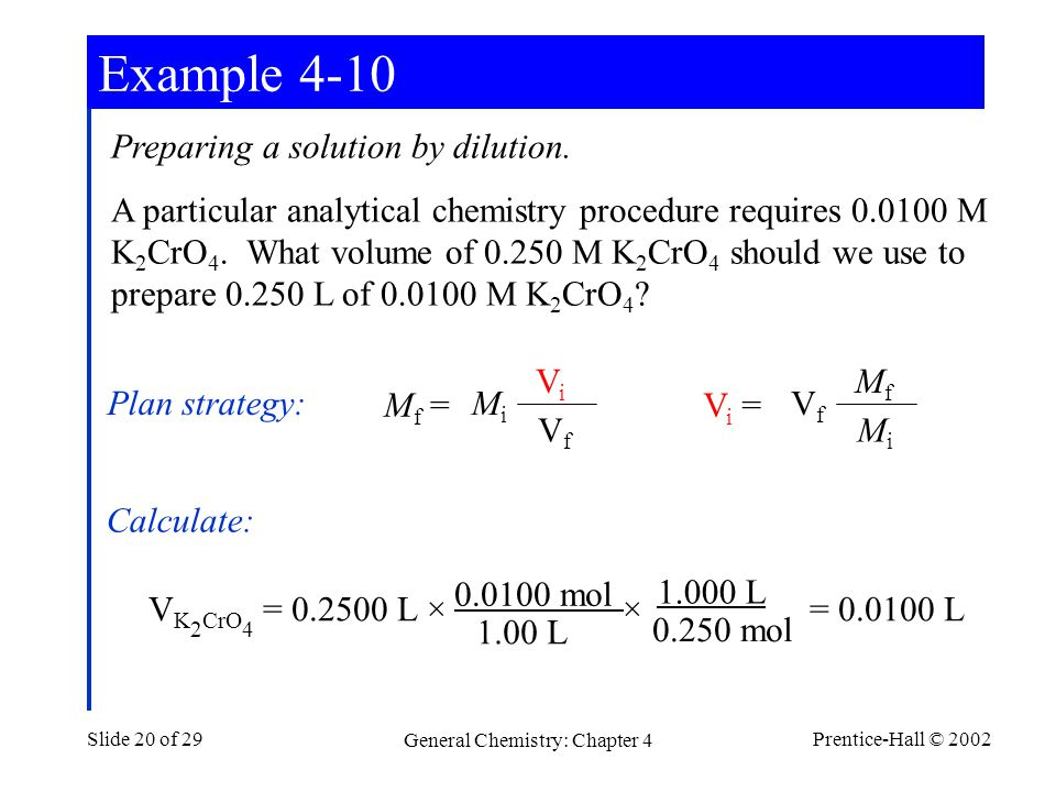 Prentice-Hall © 2002 General Chemistry: Chapter 4 Slide 20 of 29 Preparing a solution by dilution.