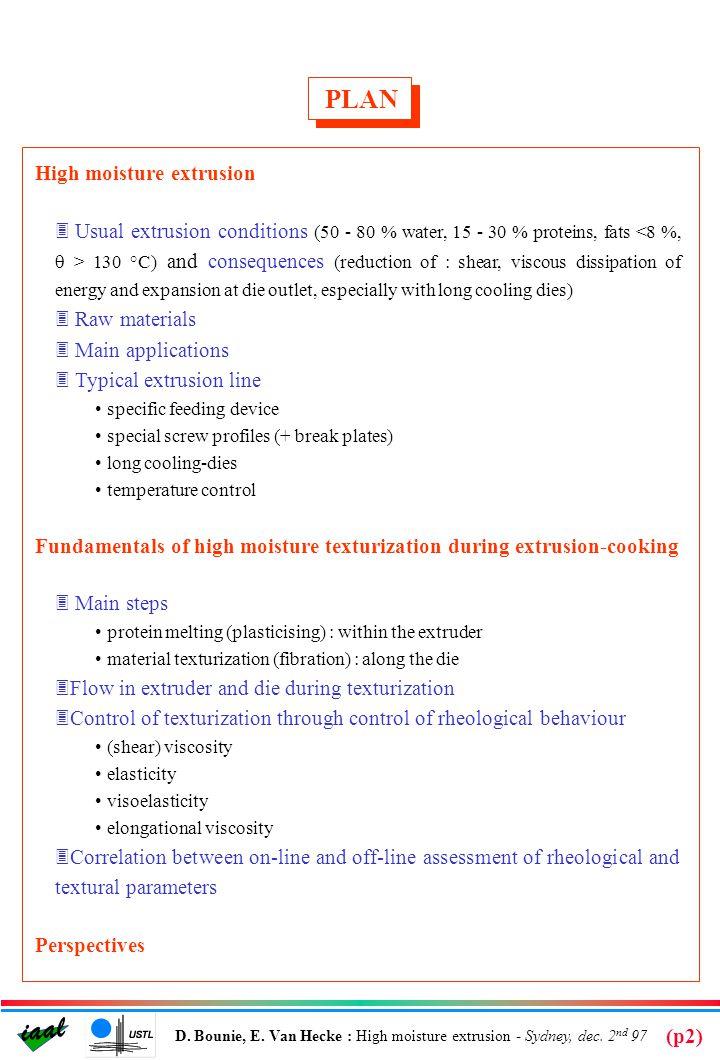 iaal D.Bounie, E. Van Hecke : High moisture extrusion - Sydney, dec.