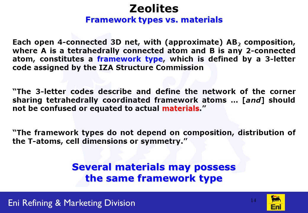 Eni Refining & Marketing Division 14 Zeolites Framework types vs.