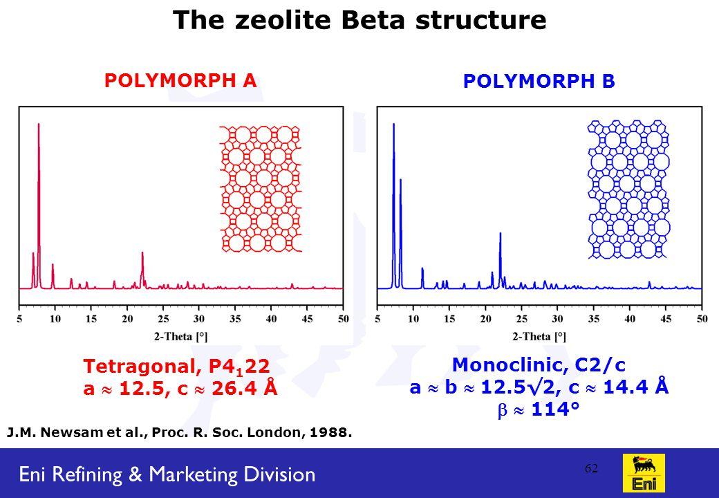 Eni Refining & Marketing Division 62 POLYMORPH A POLYMORPH B Tetragonal, P4 1 22 a  12.5, c  26.4 Å Monoclinic, C2/c a  b  12.5√2, c  14.4 Å   114° J.M.