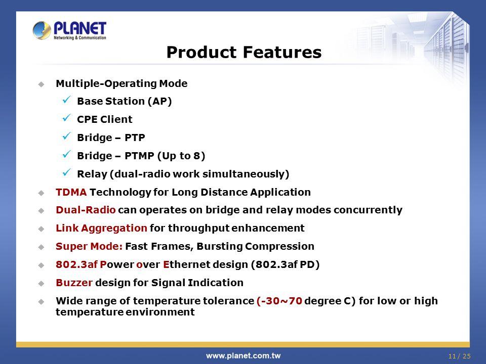 11 / 25  Multiple-Operating Mode Base Station (AP) CPE Client Bridge – PTP Bridge – PTMP (Up to 8) Relay (dual-radio work simultaneously)  TDMA Tech