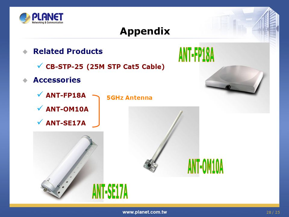 28 / 25  Related Products CB-STP-25 (25M STP Cat5 Cable)  Accessories ANT-FP18A ANT-OM10A ANT-SE17A Appendix 5GHz Antenna