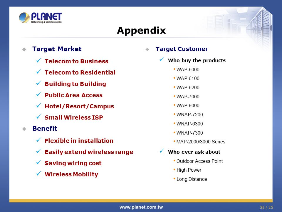 32 / 25 Appendix  Target Market Telecom to Business Telecom to Residential Building to Building Public Area Access Hotel/Resort/Campus Small Wireless