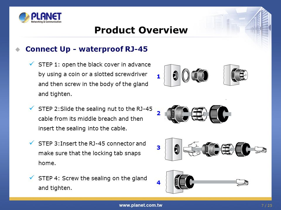 7 / 25 Product Overview  Connect Up - waterproof RJ-45 STEP 1: open the black cover in advance by using a coin or a slotted screwdriver and then scre