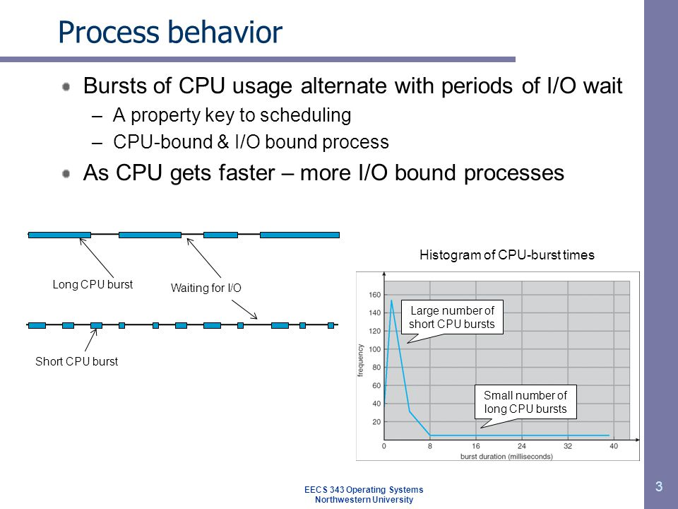 3 Process behavior Bursts of CPU usage alternate with periods of I/O wait –A property key to scheduling –CPU-bound & I/O bound process As CPU gets fas