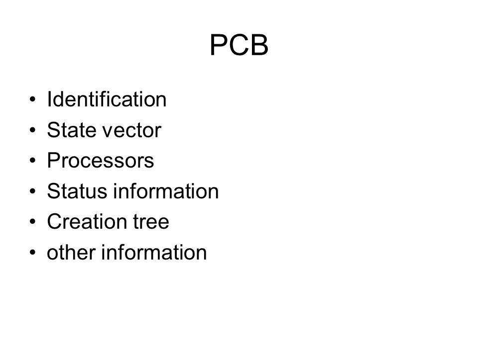 PCB Identification State vector Processors Status information Creation tree other information